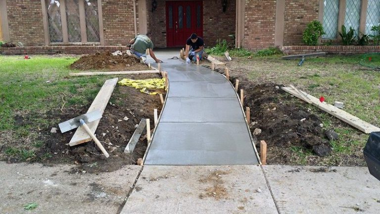 finishing concrete walkway